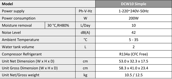 DCW10 Simple Dehumidifier Specification